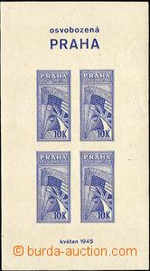 36432 - 1945 aršík Osvobozená Praha se 4-blokem nálepek v modré barv
