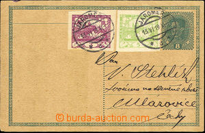 36443 - 1919 CPŘ3 8h Charles uprated with stamp 3h + 5h St. green,