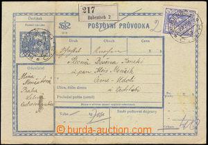36454 - 1920 CPP1A celá pošt. průvodka, hrubý papír, dofr. zn.