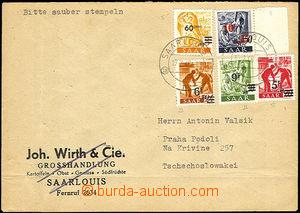 36462 - 1948 FRENCH ZONE SAAR  letter addressed to to Czechoslovakia