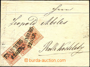 36468 - 1850 1850 folded letter with strip of  3 of I.issue 3kr, MP