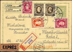 36494 - 1938 CDV65 sent R+Ex from Michalovce 14.VIII.39 to Praha, fr