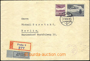 36516 - 1939 Registered and air-mail letter sent to Germany, franked