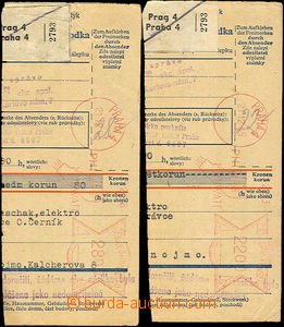 36558 - 1945 2 pcs of cuts post. dispatch-notes franked by meter stm
