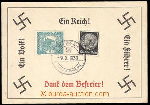 36593 - 1938 pamětní lístek formátu A6 s vylepenou čsl. a něm.