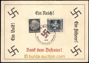 36595 - 1938 pamětní lístek formátu A6 s vylepenou něm. a čsl.