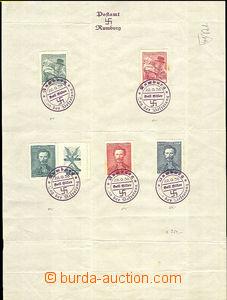 36599 - 1938 list papíru A4 s 5 vylepenými čsl. známkami a pamě