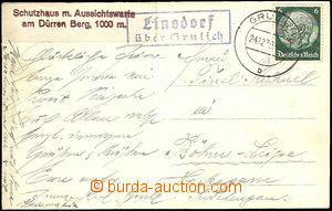 36643 - 1939 Linsdorf / über Grulich (Těchonín), blue nice print