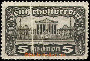 36676 - 1919 stamp. 5 Koruna with vertical paper crease 1mm wide, Mi