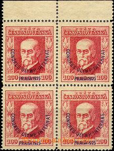 36686 - 1925 Pof.181 Kongres, 4-blok s horním okrajem, nahnědlý p