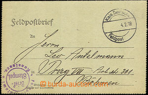 36689 - 1918 WWI - FP letter-card with round violet cancel. Feldpost