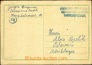 36712 - 1944 1944 KT TEREZÍN card sent from camp to arbeit camp in O