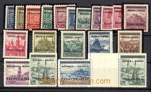36713 - 1939 Pof.1-19 + Pof.18K, (Pof.18 odřená v obraze), zk. Gil