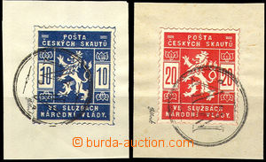 36729 - 1918 Pof.SK1-2 Scout stmp on cut-squares with whole postmark