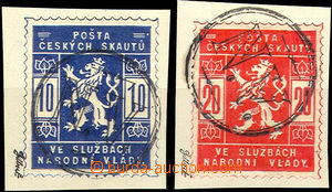36730 - 1918 Pof.SK1-2 Scout stmp on cut-squares with whole postmark