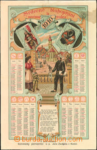 36746 - 1910 chimney-sweeper calendar, Konice, color lithography., A
