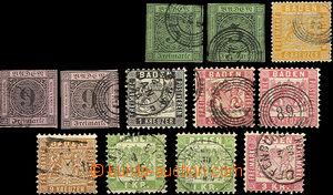 36767 - 1851-68 sestava 12ks zn. Mi. 2x 4, 2x 6, 11, 17, 18, 15, 23,
