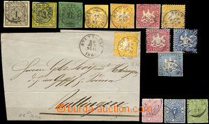 36768 - 1851-69 comp. 13 pcs of stamp. + 1 cut-square, Mi.1-3, 7, 12