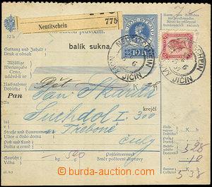 36807 - 1907 větší část balíkové průvodky vyfr. zn. 72h, Mi.118, DR