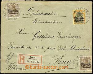 36812 - 1913 R-dopis zaslaný do Čech vyfr. zn. Mi.46 2x, 50, DR Ta
