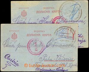 36828 - 1915 Serbia  2 pcs of cards Serbian field post sent Czech pr