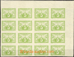36855 - 1919 Pof.S2N, 5h light green on white paper, block of 16, ex