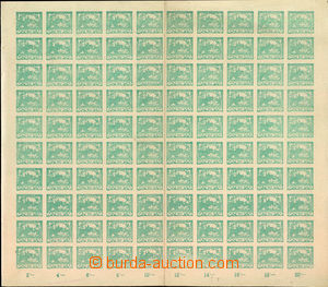 36861 -  Pof.8, 20h blue-green, complete 100-stamps sheet with margi