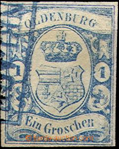 36863 - 1861 Mi.12, fragment modrého razítka, pěkný střih, kat.