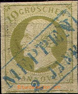 36872 - 1861 Mi.18, pěkný střih, modré raz. MEPPEN 2.Jan., kat.