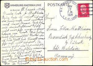 36877 - 1929 NĚMECKO  pohlednice zaslaná z lodi S.S. St.Louis 17.N