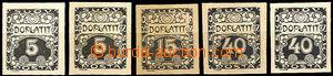 36912 - 1919 Ornament, sestava 5ks ZT v černé barvě, hodnoty 5h 2