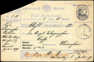 36929 - 1879 celá služební telegrafická poukázka, DR Weidenberg/ 1.7