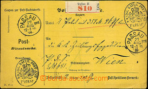 36932 - 1884 whole official dispatch-note, 2x CDS Passau II./ 27.AUG