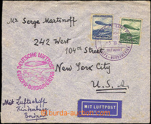 36956 - 1936 USA letter forwarded by airship Hindeburg, with Mi.606
