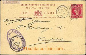 37044 - 1893 PC 1p, Mi.P1, CDS Malta My.5.93, supplemented with stra