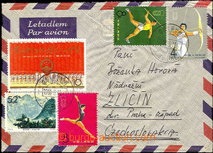 37049 - 1966 richly franked with. airmail letter to Czechoslovakia,