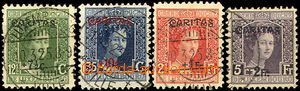 37085 - 1924 Mi.148-151 s přetiskem Caritas, zbytky nálepek jinak za