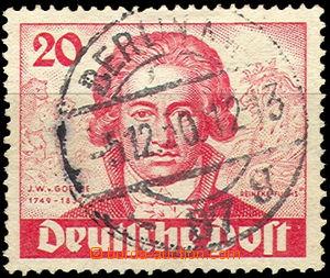 37092 - 1949 Mi.62 Goethe, hinged, yellowish paper, overlapping post
