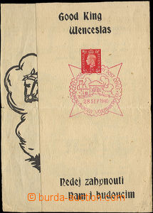 37173 - 1940 commemorative sheet with red special postmark Czechosl.