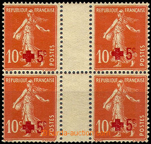 37214 - 1914 Mi.125 overprint Red Cross, 2x gutter as blk-of-4, good