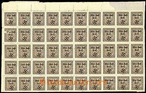 37221 - 1938 Rumburk blk-of-50 Czechosl. stamp. 10h Coat of arms wit