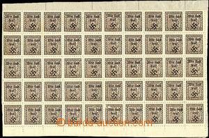37222 - 1938 Rumburk 50-blok čs. zn. 10h Znak s přetiskem, Tr.2, bez