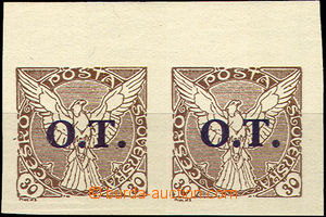 37260 - 1934 Pof.OT3ST horizontal pair with upper margin and joined