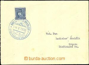 37277 - 1939 dopis vyfr. zn. Modrý Štefánik, Alb.1, modré PR Bre