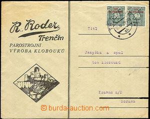 37281 - 1939 obálka s přítiskem firmy R Roder Trenčín - výroba