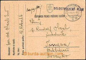 37344 - 1941 SLOVENSKO  lístek PP s útvarovým řádkovým raz. DE