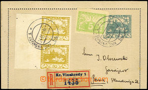 37371 - 1919 CZL1 s okraji, zaslaná jako R do Bosny, dofr. spěšno