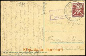 37379 - 1921 pohlednice s raz. poštovny GORNA LOMNA (SLAK)/ OBER LO