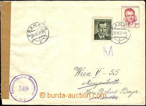 37382 - 1950 COB1 uprated with stamp 1Kčs Šverma and to Austria, C