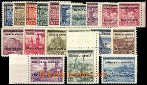 37429 - 1939 Pof.1-19, luxusní, vše zk. Kar, kat. 1100Kč